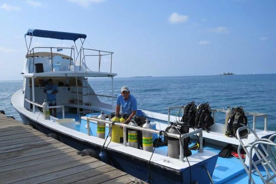 Raynel changing gear on dive boat